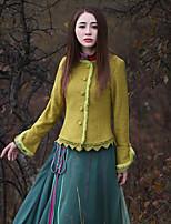 Damen Solide Retro Ausgehen Jacke,Winter Rundhalsausschnitt Langarm Gelb Dick Wolle / Polyester