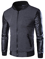 Men's Long Sleeve Casual / Work / Formal / Sport / Plus Size JacketPU / Cotton / Nylon Solid / Color Block Black / Gray
