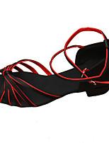 Non Customizable Women's Dance Shoes Satin Satin Latin Heels Chunky Heel Practice / Performance Red