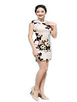 One-Piece Short Sleeve Medium Length Beige Lolita Dress Polyester