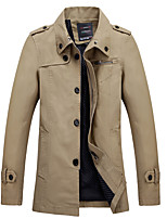 Men's Solid Casual / Work / Plus Size Trench coatCotton Long Sleeve-Brown / Green / Yellow