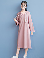 Women's Casual/Daily Simple Sheath DressSolid Hooded Midi Long Sleeve Pink / Gray Cotton Fall / Winter Mid Rise