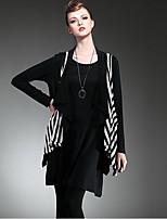 LUTING Women's Round Neck Sleeveless Vest & Waistcoat Black / Gray-6030
