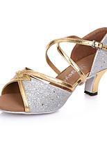 Chaussures de danse(Noir / Bleu / Argent / Or) -Non Personnalisables-Talon Aiguille-Cuir-Latine / Moderne