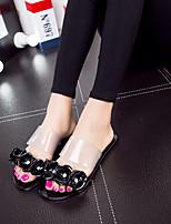 Women's Sandals Summer Sandals / Open Toe PVC Casual Flat Heel Applique Black / Pink / Beige / Burgundy Others