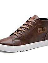 Men's Bootie PU Office & Career Flat Heel Lace-up Black / Brown / Gray Walking EU39-43