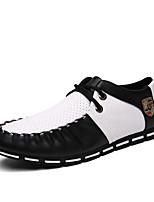 Черный Белый Черный и белый-Мужской-Для офиса Повседневный-Дерматин-На плоской подошвеТуфли на шнуровке