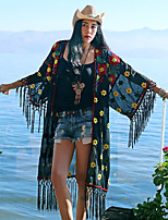 Whisper Wheat Women's Going out / Casual/Daily Vintage Summer Cloak/CapesEmbroidered V Neck  Sleeve Black Polyester Thin