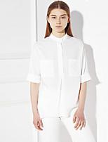 c + beeindrucken Frauen einfache Feder Ausgehen / fallen shirtsolid Rundhalsausschnitt Länge Hülse weißer Seide / Rayon Medium