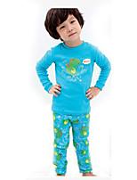 Мальчик Набор одежды,На каждый день,С принтом,Хлопок,Зима / Осень,Синий