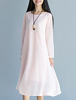 Women's Casual/Daily Vintage Loose Dress Solid Midi Long Sleeve Blue / Pink / White Cotton / Linen Spring / Fall