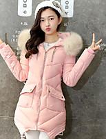 Women's Solid Blue / Pink / Black / Gray / Purple Down CoatCute Hooded Long Sleeve