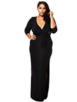 Women's Party / Plus Size Sexy Bodycon Dress,Solid Deep V Maxi ¾ Sleeve Black Polyester Summer Mid Rise Inelastic Medium