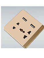 Pu Extremely Intelligent Switch Five-Hole Round With Dual USB Socket Panel