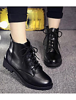 Women's Boots Spring Fall PU Outdoor Chunky Heel Lace-up Black Other