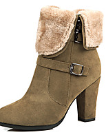 Women's Boots Spring / Fall / Winter Fashion Boots Leatherette/ Casual Stiletto Heel ZipperBlack / Brown / Yellow / Dark