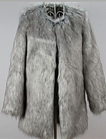 Women's Plus Size / Party/Cocktail Simple Fur Coat,Solid Round Neck Long Sleeve Fall / Winter Gray Acrylic Thick