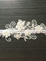 Подвязка Стреч-сатин / Кружева Цветок / Искусственный жемчуг Белый