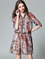 Women's Plus Size / Going out Chinoiserie Chiffon DressPrint V Neck Above Knee  Length Sleeve Brown Polyester