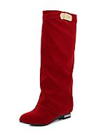 Damen-Stiefel-Büro Lässig-Kunstleder-Blockabsatz-Modische Stiefel-Schwarz Braun Rot