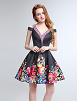 Cocktail Party Dress A-line V-neck Short / Mini Satin with Pattern / Print