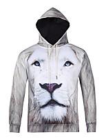 Men's Print Casual / Sport Pocket Hoodie Animal Tiger Head Print Long Sleeve Men 3d Hoodie
