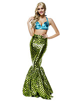 Performance Outfits Women's Performance Sequined Ruffles / Sequins 2 Pieces Green Sleeveless Natural Skirt / Bra