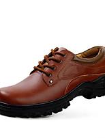Черный / Коричневый-Мужской-На каждый день-Полиуретан-На плоской подошве-Удобная обувь / С круглым носком-Туфли на шнуровке
