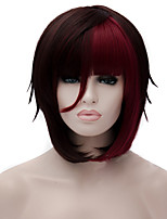 Cosplay Wigs Wine Red Gradient Wig Short 12 Inch
