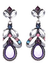 Cristal Strass Plaqué argent Alliage Vintage Victorien Mode Forme de Fleur Violet Bijoux Mariage Soirée 1 paire