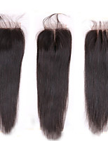 8-20 Brazilian Straight Lace Closure Size 4x4 Natural Black Free Middle 3 Part Virgin Remy Human Hair Lace Top Closures