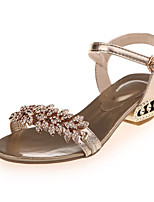 Women's Sandals Summer Comfort PU Casual Low Heel Buckle Silver / Gold Others