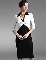 Baoyan Women's V Neck Long Sleeve Knee-length Dress-160020
