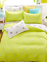 Bedtoppings Comforter Duvet Quilt Cover 4pcs Set Queen Size Flat Sheet Pillowcase Green White Prints Microfiber