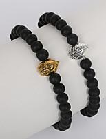Beadia 1Pc 8mm Black Glass Bead Strand Bracelet Helmet Bracelet