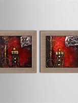 Ручная роспись Абстракция Картины маслом,Modern 2 панели Холст Hang-роспись маслом For Украшение дома
