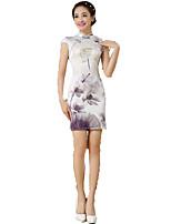 One-Piece Short Sleeve Medium Length Gray Lolita Dress Polyester Cheongsam