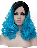 Blue long curly hair and the wind nightclub performances Street color million with partial wig.