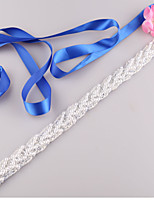 Satin Wedding / Party/ Evening / Dailywear Sash-Beading / Imitation Pearl Women's 98 in(250cm) Beading / Imitation Pearl