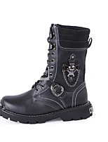 Men's Boots Fall / Winter Riding Boots / Work & Safety Cowhide Outdoor Flat Heel Buckle / Lace-up / Trail Running