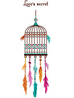 Wall Stickers Wall Decals The Birdcage with Colorful Feathers Feature Removable Washable PVC