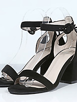Women's Sandals Summer Heels / Sandals Fabric Office & Career / Dress / Casual Chunky Heel Buckle Black / Brown