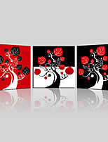 JAMMORY Canvas Set Landscape ,Three Panels Gallery Wrapped, Ready To Hang Vertical Print No Frame Black Red Basemap