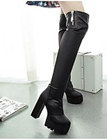 Women's Boots Spring / Fall / Winter Fashion Boots PU Outdoor Chunky Heel Others / Zipper Black Others