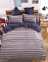 Bedtoppings Comforter Duvet Quilt Cover 4pcs Set Queen Size Flat Sheet Pillowcase Stripe Prints Solid Microfiber