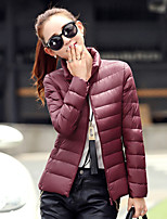 Women's Solid Pink / Red / White / Black / Purple Down CoatSimple Round Neck Long Sleeve