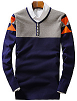 Men's Color Block Casual / Sport PulloverCotton / Polyester Long Sleeve Blue / Red