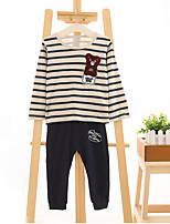 Boy's Casual/Daily Striped Clothing SetCotton Spring / Fall Blue / Brown