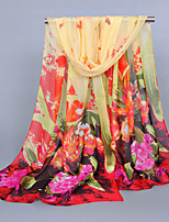 Women's Chiffon Flowers Print Scarf Red/Royal Blue/Blue/Fuchsia