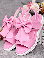 Girl's Sandals Spring / Summer / Fall Sandals PU Outdoor Flat Heel Bowknot Pink / White / Peach Walking